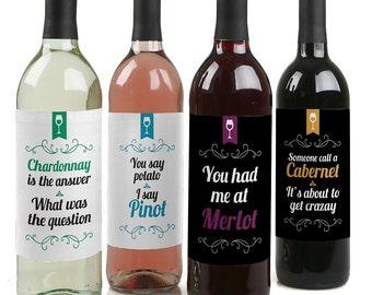 Wine Not? - Funny Wine Bottle Labels - Set of 4