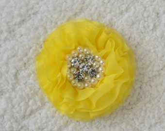 3 inch Rhinestone Chiffon Hair Flowers, Wholesale Flower Heads for Headbands, Lot of 1 or 2, Yellow