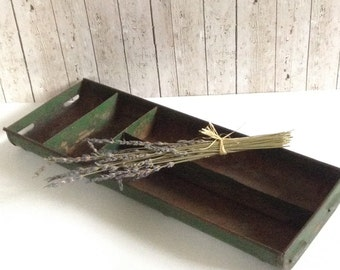 Vintage Metal Tray - Industrial Tray - Chippy Green Tray -Rusty Rectangle Tray - Divided Tray