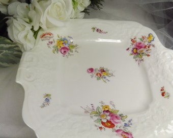 Cake Plate, Vintage Coalport White and Florals/ Butterflies Cake Plate