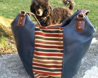 Navy Leather Hobo Bag