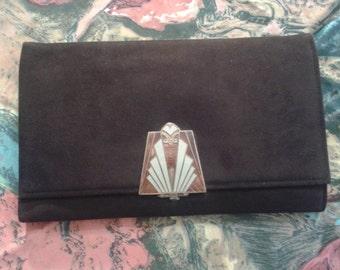 1920s Art Deco brown suede clutch purse with enammel clasp