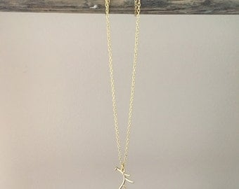 Simple Gold Antler Charm Necklace