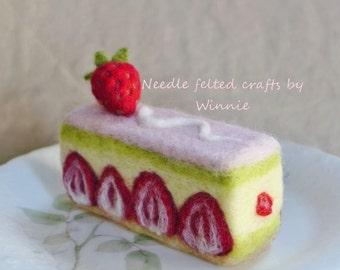 Needle felted Strawberry Matcha cake handmade OOAK dessert