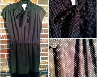 Adorable Black and White Polka Dot Secretary Dress, 12