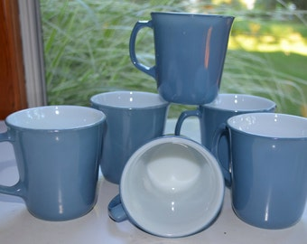 SET of 6 - Pyrex Coffee Mugs Cups - Slate Blue - White Milk Glass - VINTAGE 1970s 1980s