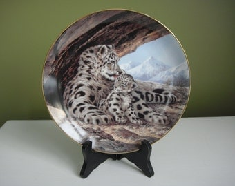 Vintage Collector Plate - The Snow Leopard - The Last of Their Kind:Endangered Species Series - 1989 - Epsteam