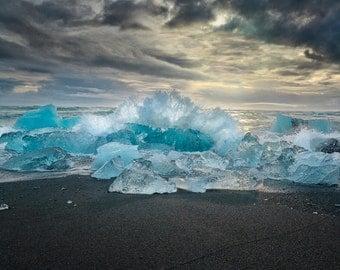 Waves Crashing Against Glaciers