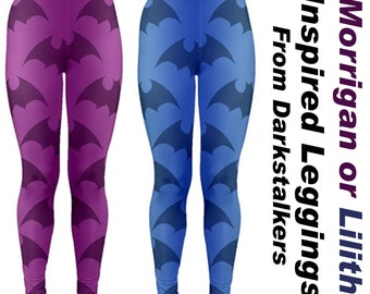 Darkstalkers Inspired Morrigan or Lilith Leggings