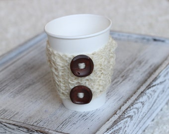 knitted cup cozy,coffee cozy, Cable Knitted Coffee warmer