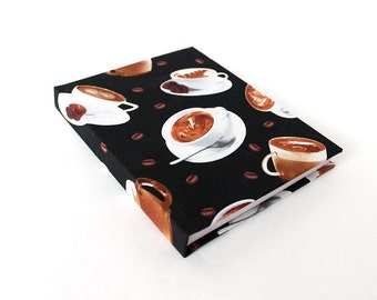 Coffee Lover's Hardcover Journal, Cafe Unlined Travel Notebook, Small Casebound Sketchbook, Diary for Coffee Addicts, Coffee Shop Jotter