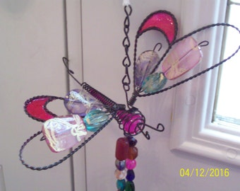 Dragonfly Wind Chime Pink Purple Turquoise Garden Art