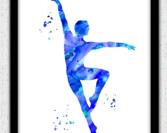 Ballet dancer print, male ballet dancer print, ballet silhouette, ballet art print, blue ballet dancer silhouette, ballet decor