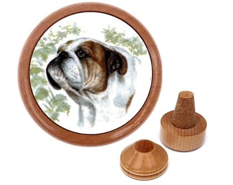 Handmade English Bulldog Gift Present for dog lover, Print, Art. Collectible bottle stopper and cork holder.