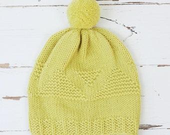 garter chevron hat // hand-knit cap // cornmeal yellow color