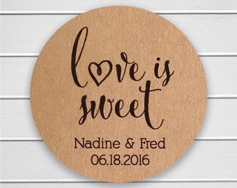 Love is Sweet Wedding Stickers, Rustic Wedding Seals, Wedding Stickers, Kraft Wedding Stickers (#121-KR)