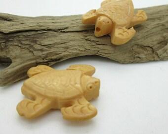 Bone Sea Turtle Pendant Bead, Natural Dyed Bone Bead, 25x15mm (2)