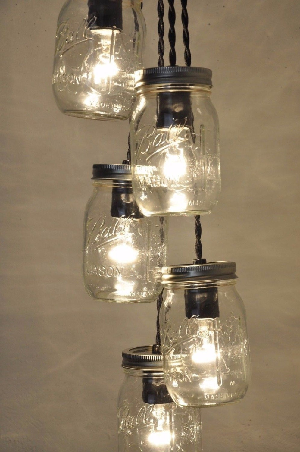 Mason jar chandelier mason jar light fixture ball jar ceiling 1 arubaitofo Gallery