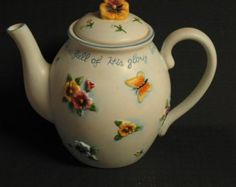 Beautiful Vintage Tea Pot Embossed With Pansies and Butterflies Inscribed With Isaiah 6.3