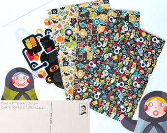 Set of 4 printed cards with cool illustrations.