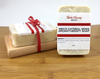 Men's Oatmeal Moss Soap and Soap Dish, Soap and Soap Dish, Soap Gift Set, Gift for Him, Gift for Co Worker