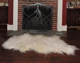 Large New ANGORA Wool Long Haired Goat WHITE Throw Rug w/ Thick Pile for Southwest Ranch Rustic Decor (very high quality)