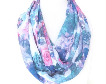 Printed Scarf, Floral scarf, Monet Scarf, Purple and Blue Scarf, Fashion Scarf
