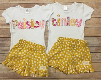 Applique Tee/Ruffle Shorts Set