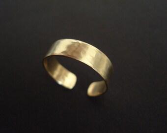 Hammered Bronze Cuff Adjustable Ring Brass Band Statement Minimal Skinny Brass Ring Modern Band Ring