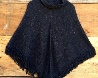 Super Soft Vintage Black Fringed Poncho