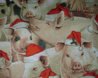 Santa Pigs Cotton Fabric (1 yard 35 inches)