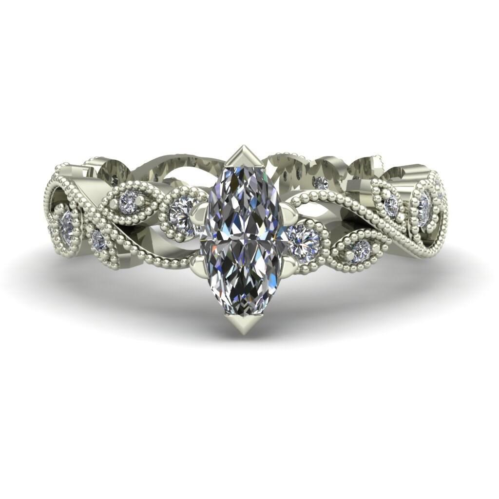 Marquise Diamond Engagement Ring Half Carat by CharlesBabbDesigns