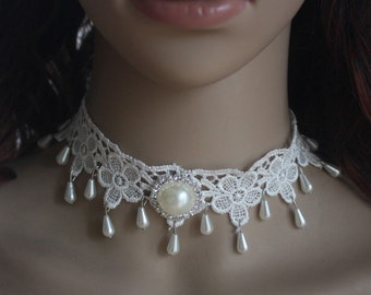 Silver Bridal Gothic Victorian Ivory White Lace Teardrop Pearl Choker Necklace