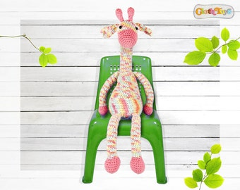 Large Crocheted GIRAFFE, Pink Giraffe, Crochet Toy, Ready To Post, Cute Softie, Child's Toy, Stuffed Toy, Jungle Nursery Decor , Animal,