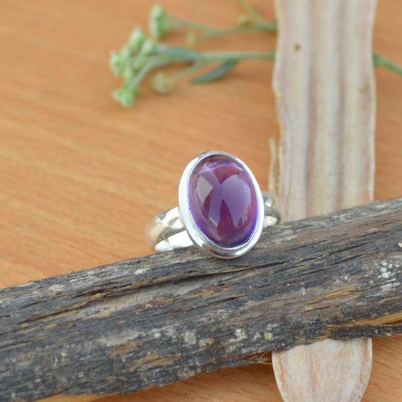 Oval Cab Amethyst Ring, Purple Gemstone Ring, Natural Gems Ring Size 8, Gemstone Ring, 925 Sterling Silver Ring, February Birthstone Ring