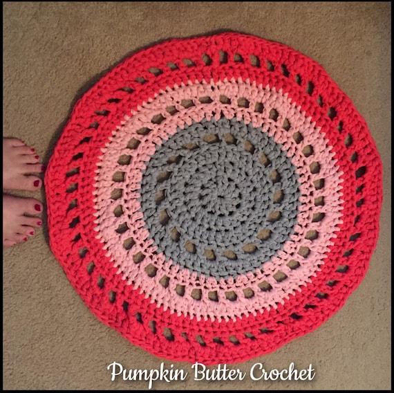 CLEARANCE Crochet Circle Rug Mandala Rug Pink & Gray