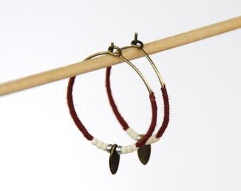 Creole earring 'Milky way' ochre red-cream