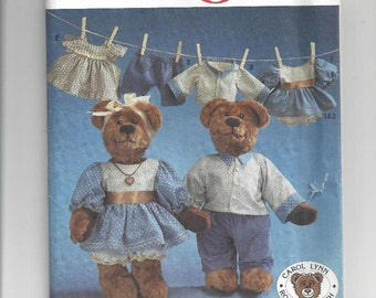 Simplicity Crafts Pattern 7473 Bears & Outfits 1991