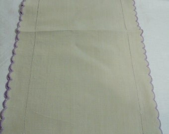 Lovely table runner dresser scarf ecru with lavendar scallop edge 36 x 10 inches