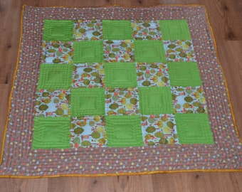 Baby quilt, green with animal print