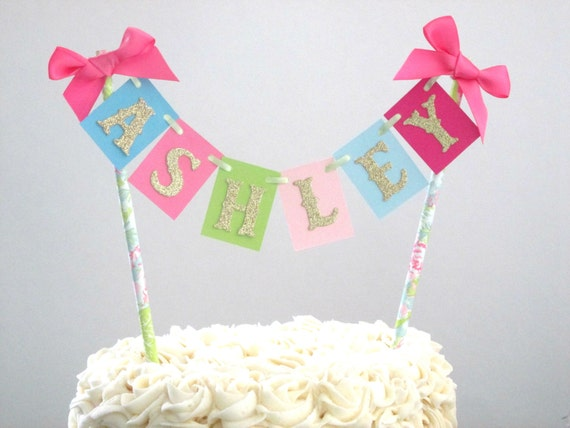 Personalized Cake Bunting Tropical Party Decorations Tropical Bridal Shower Flamingo Party Decor Luau Shower Luau Decor Name Cake Bunting