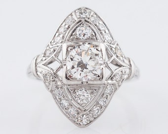 Antique Right Hand Ring Art Deco .72 Round Brilliant Cut Diamond in Platinum