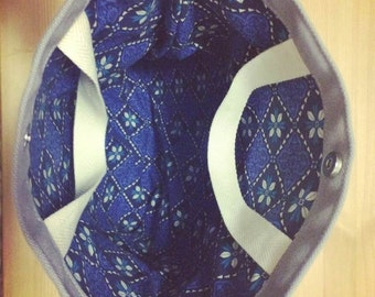 2 WAY Tote/ Clutch Bag (Grey x Blue)