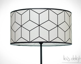 Geometric Drum lampshade scandinavian design black and white