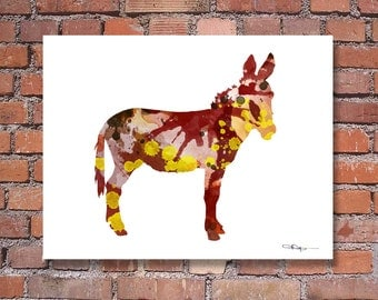 Donkey Art Print - Abstract Burro Watercolor Painting - Wall Decor