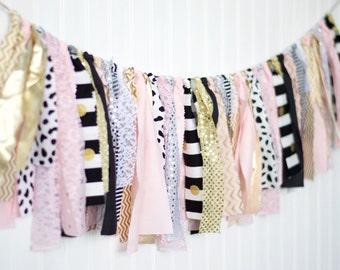 Pink Black and Gold Sparkle Garland-Kate Spade Inpired Bridal Shower Decor-Gold Fabric Garland-Tassel Garland-High Chair Banner Decor