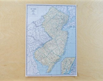 1944 - New Jersey Map - Vintage WWII Era Map of New Jersey - Antique Map Old Atlas Map Page