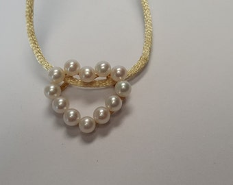 14-K Yellow Gold & 4.5MM Cultured Pearl Heart Necklace