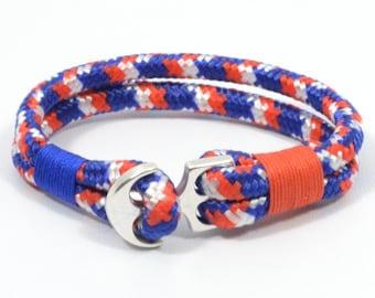 paracord anchor bracelet, patriotic bracelet, 4th of July jewelry, american flag bracelet, USA bracelet, red white blue nautical bracelet