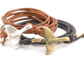 nautical couples bracelet, whale tail bracelet, nautical bracelet, whale bracelet, wrap bracelet, couples leather bracelet, nautical jewelry